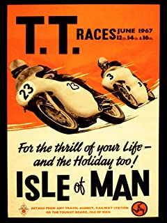 Art Sport Advert Tt Races Bikes Isle of Man 1967 Poster Print