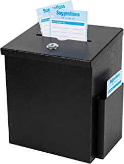 xydled Wall Mounted Suggestion Box with Lock,Ballot&Donation Box with 50 Free Suggestion Cards,Metal Suggestion Box with K...