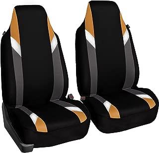 FH Group FB133ORANGE102 Bucket Seat Cover (Supreme Modernistic Airbag Compatible (Set of 2) Orange)