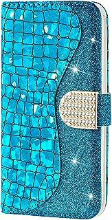 CTIUYA - Custodia a portafoglio per Samsung Galaxy A21S, in pelle PU, con brillantini e chiusura magnetica, colore: blu