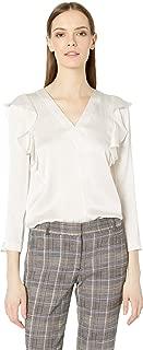 Women's Long Sleeve Silk Ruffle Top