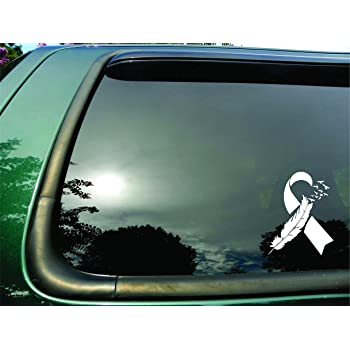 Amazon Com White Lung Cancer Survivor Ribbon Car Magnet Decal Heavy Duty Waterproof Automotive