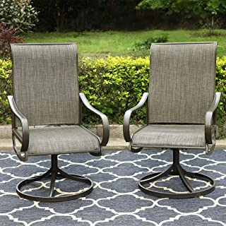 PHI VILLA Patio Swivel Dining Chairs Outdoor Kitchen Garden Metal Chair Patio Furniture Bistro Set, 2 PCs
