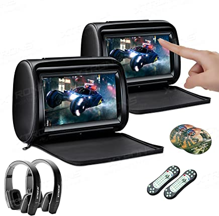 $259 Get XTRONS 2 x 9 Inch Pair Car Headrest DVD Player HD Digital Adjustable Touch Screen 1080P Video Auto Games HDMI Version Black IR Headphones