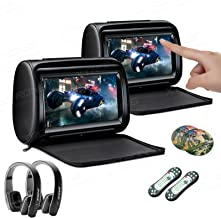 XTRONS 2 x 9 Inch Pair Car Headrest DVD Player HD Digital Adjustable Touch Screen 1080P Video Auto Games HDMI New Version Black IR Headphones