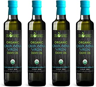 Sky Organics USDA Organic Extra Virgin Olive Oil- 100% Pure Greek Cold Pressed Unfiltered Non-GMO EVOO- For Cooking Baking - Hair & Skin Moisturizing, 16.9 oz (Pack of 4)