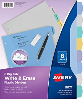 Avery 8-Tab Plastic Binder Dividers, Write & Erase Multicolor Big Tabs, 1 Set (16171),Translucent Multicolor