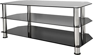 AVF SDC1140-A TV Stand for Up to (not all) 55-Inch TVs, Black Glass, Chrome Legs