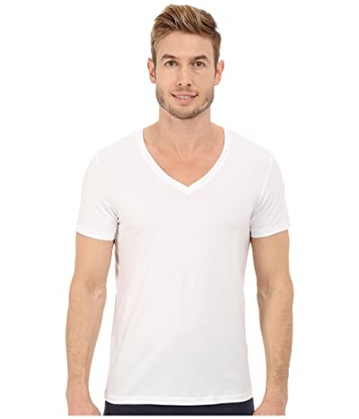 Hanro Cotton Superior V-Neck Shirt (White) Men
