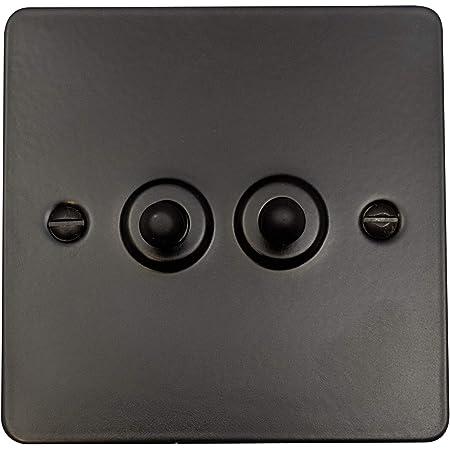 G H Ffb282 Flat Plate Matt Black 2 Gang 1 Or 2 Way Toggle Light Switch Amazon Co Uk Lighting