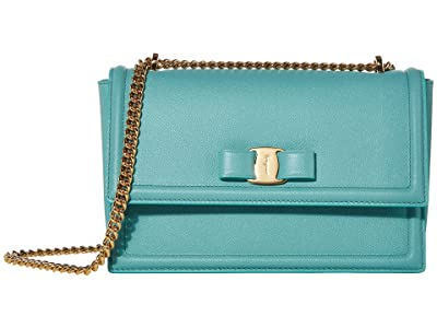 Salvatore Ferragamo Ginny Crossbody (Turquoise) Handbags
