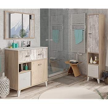 Miroytengo Pack mobiliario baño Anle Color Roble y Collage (Mueble ...