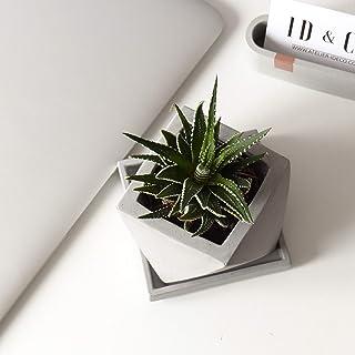 Atelier Ideco - Pote de Flor Geométrica Concreta Gris Con Orificio de Drenaje Y Platillo Cuadrado.
