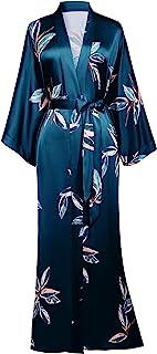 BABEYOND Damen Morgenmantel Blätter Muster Maxi Lang Robe Kimono Sommer Satin Bademantel Damen Strandkleid Leicht Schlafmantel
