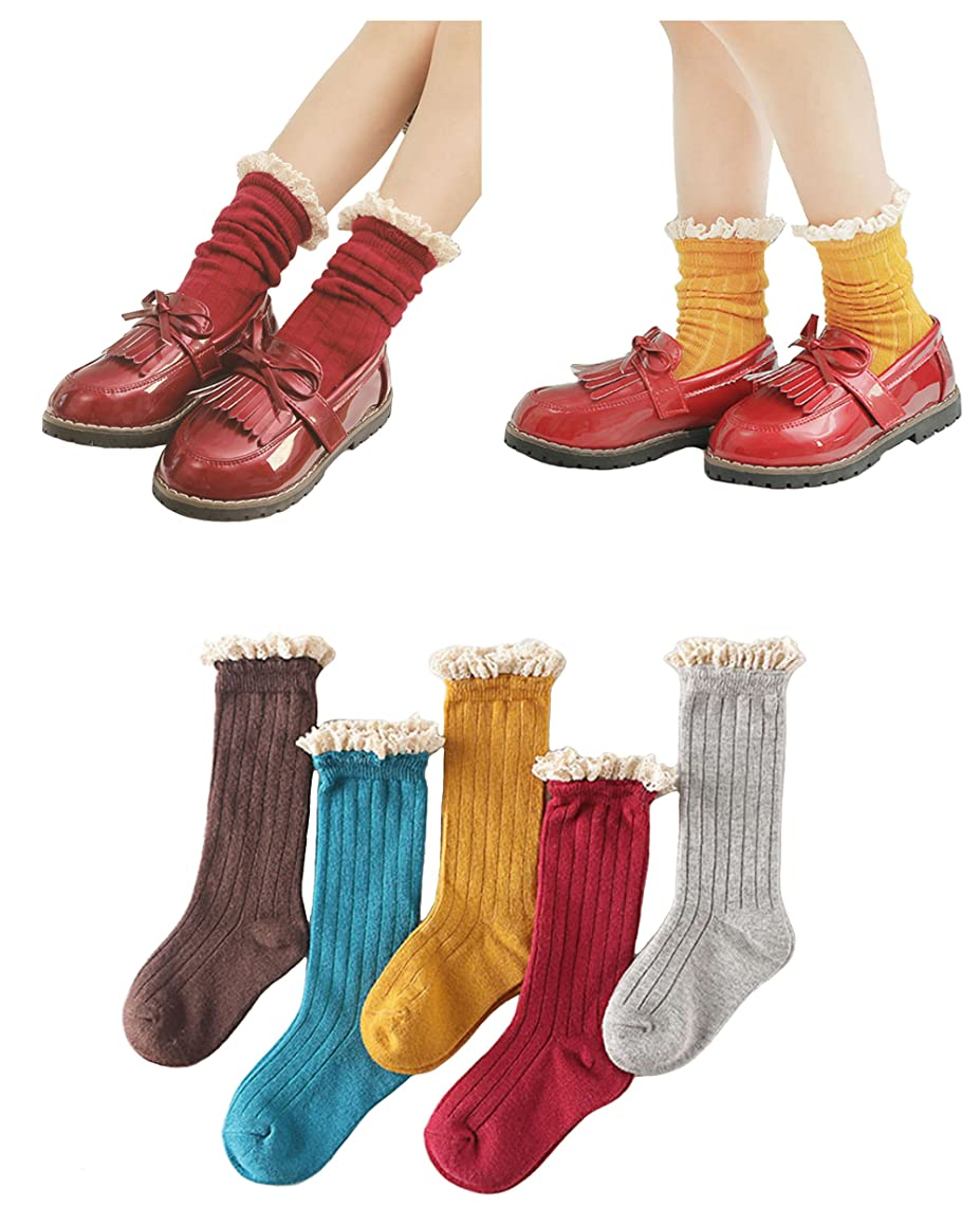 5 Pack Girls Sweet Socks Lace Trim Cotton Knit Footed Leg Boot Stocking By Eilin