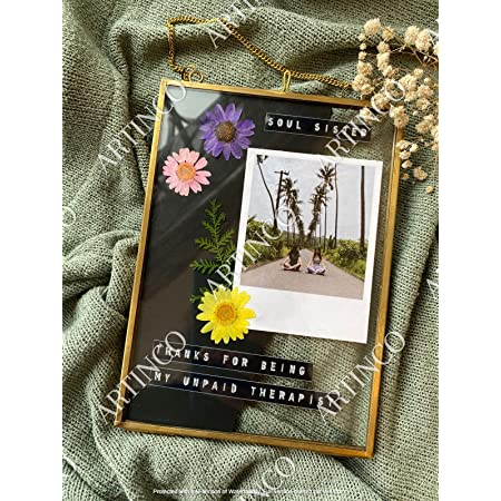Art India Collections Hanging Brass Glass Photo Frame for Dried Flowers, Pressed Flowers, Poster, Double Glass Frame, Glass Frames for Wall décor 5 x 7