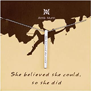 Women 925 Sterling Silver Personalized Inspirational Bar Pendant Necklace Jewelry Engraved ' She Believed She Could So She Did' Birthday Valentine's Day and Mother's Day Jewelry Gifts Girls