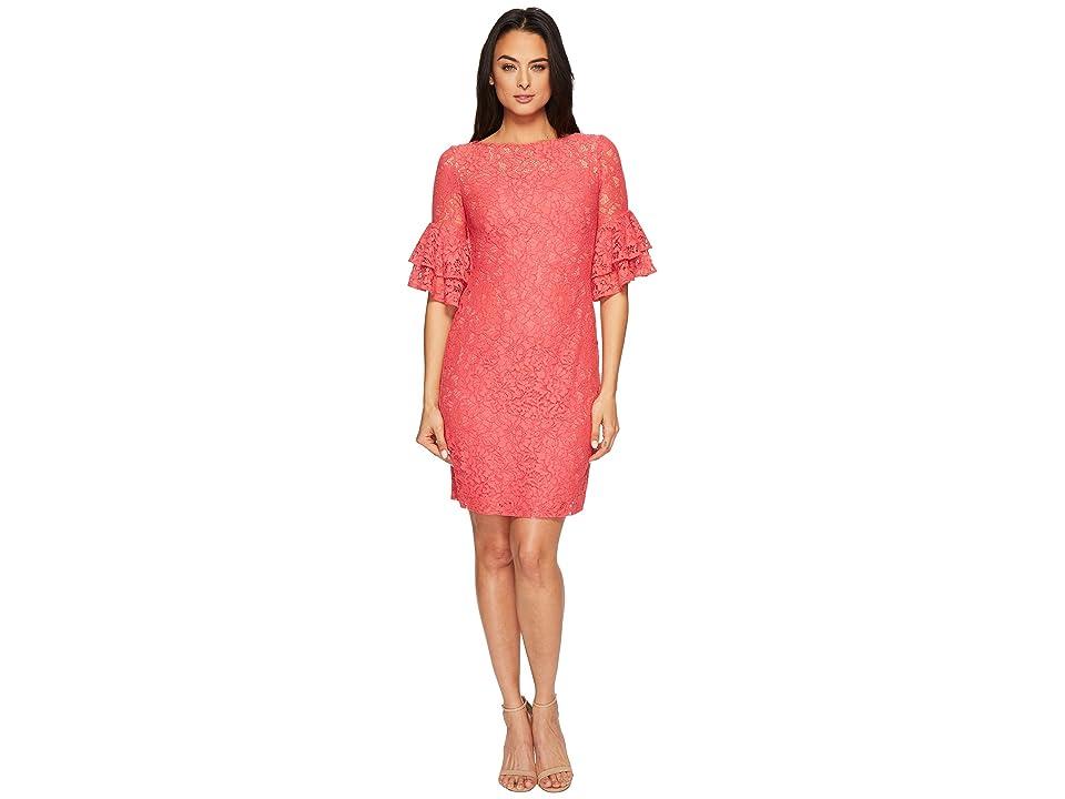 LAUREN Ralph Lauren Marcelle Monte Carlo Lace Dress (Cherry Blossom/Wheat) Women