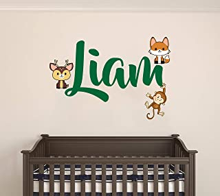 "Personalized Boys Name Wall Decal - Boys & Girls Custom Name - Baby Deer Fox and Monkey Animal Theme - Wall Decal for Nursery Bedroom Decoration (Wide 16""x10"" Height)"