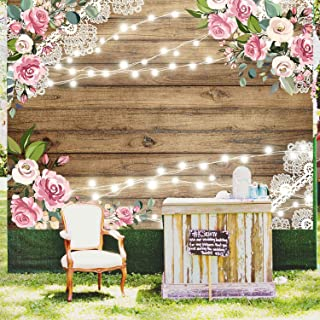 Wood Wedding Flowers Rustic Backdrop Floral Wooden Texture Board Floor Wall Photography Backgrounds Bridal Shower Baby Shower Birthday Party Banner Photo Studio Props