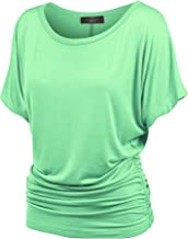 Made By Johnny MBJ Women's Solid Short Sleeve Boat Neck V Neck Dolman Top with Side Shirring-Made in U.S.A.