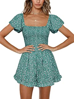 Sponsored Ad - Jeanewpole1 Womens Floral Wide Leg Short Rompers Shirred Ruffle Sleeve Jumpsuit