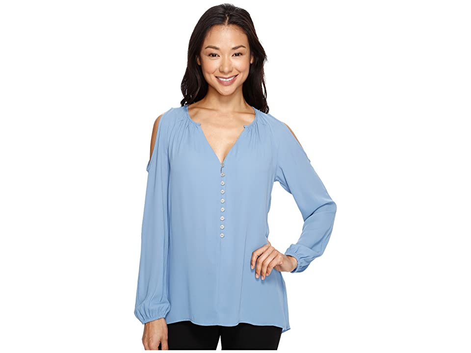 Karen Kane Cold Shoulder Button Up Top (Chambray) Women