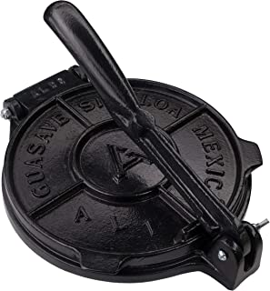 Tortilla Press 8 Inch- Black- Cast Aluminum Tortilla Maker - Heavy-Duty Taco Presser - Made In Mexico Corn Flour Tortilla ...