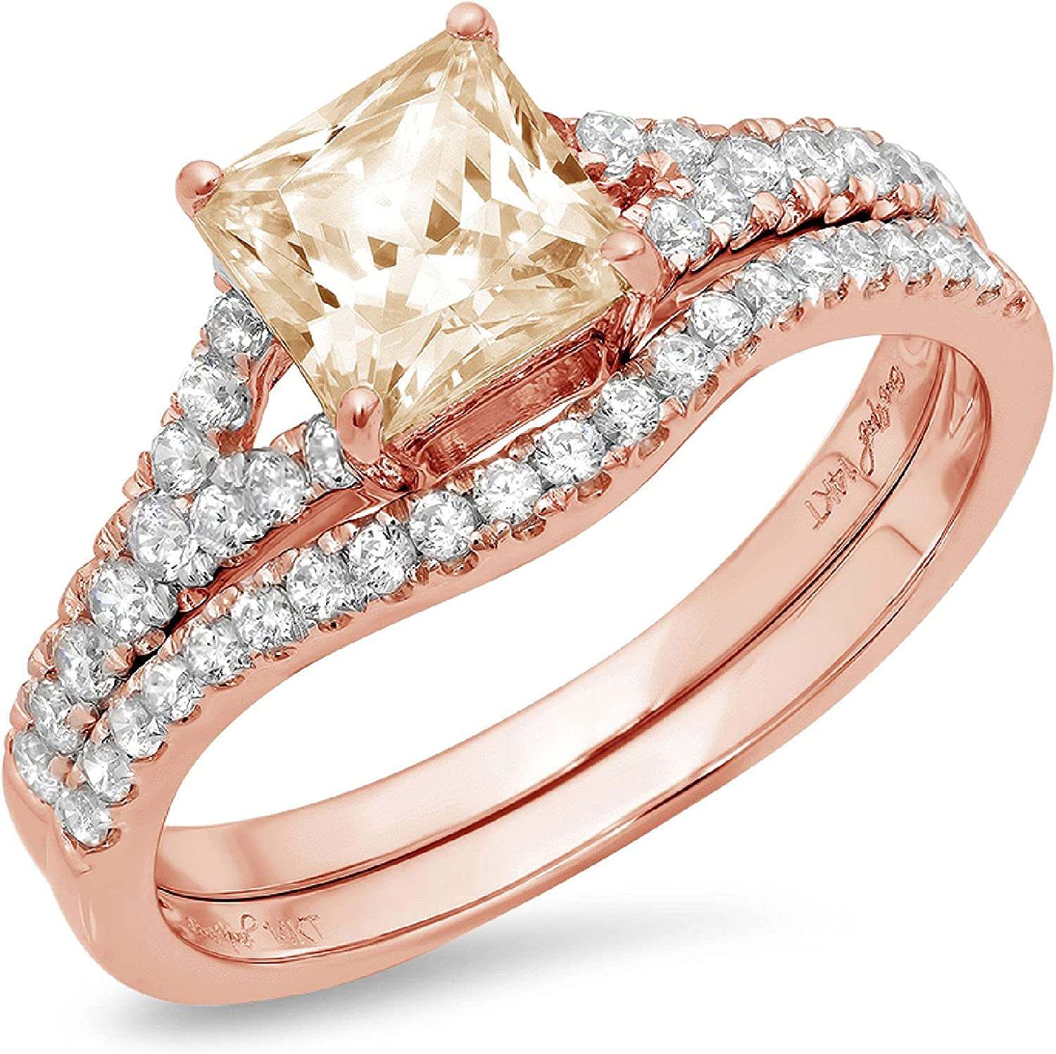 1.76ct Princess Cut Pave Solitaire Accent Ideal VVS1 Yellow Moissanite Engagement Promise Statement Anniversary Bridal Wedding Designer Ring Band set Curved 18K Rose Gold