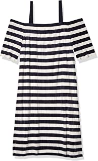 Sandra Darren Women's 1 Pc Cold Shoulder Printed Stripe Knit Shift Dress