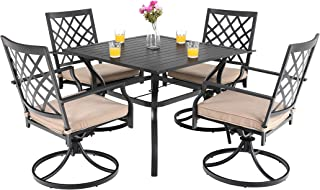 PHI VILLA Patio Dining Set 5 Pieces 1 Metal Square Garden Umbrella Table and 4 Swivel Chairs Support 300 lbs for Ourdoor Backyard Bistro Furniture Set with Cushion
