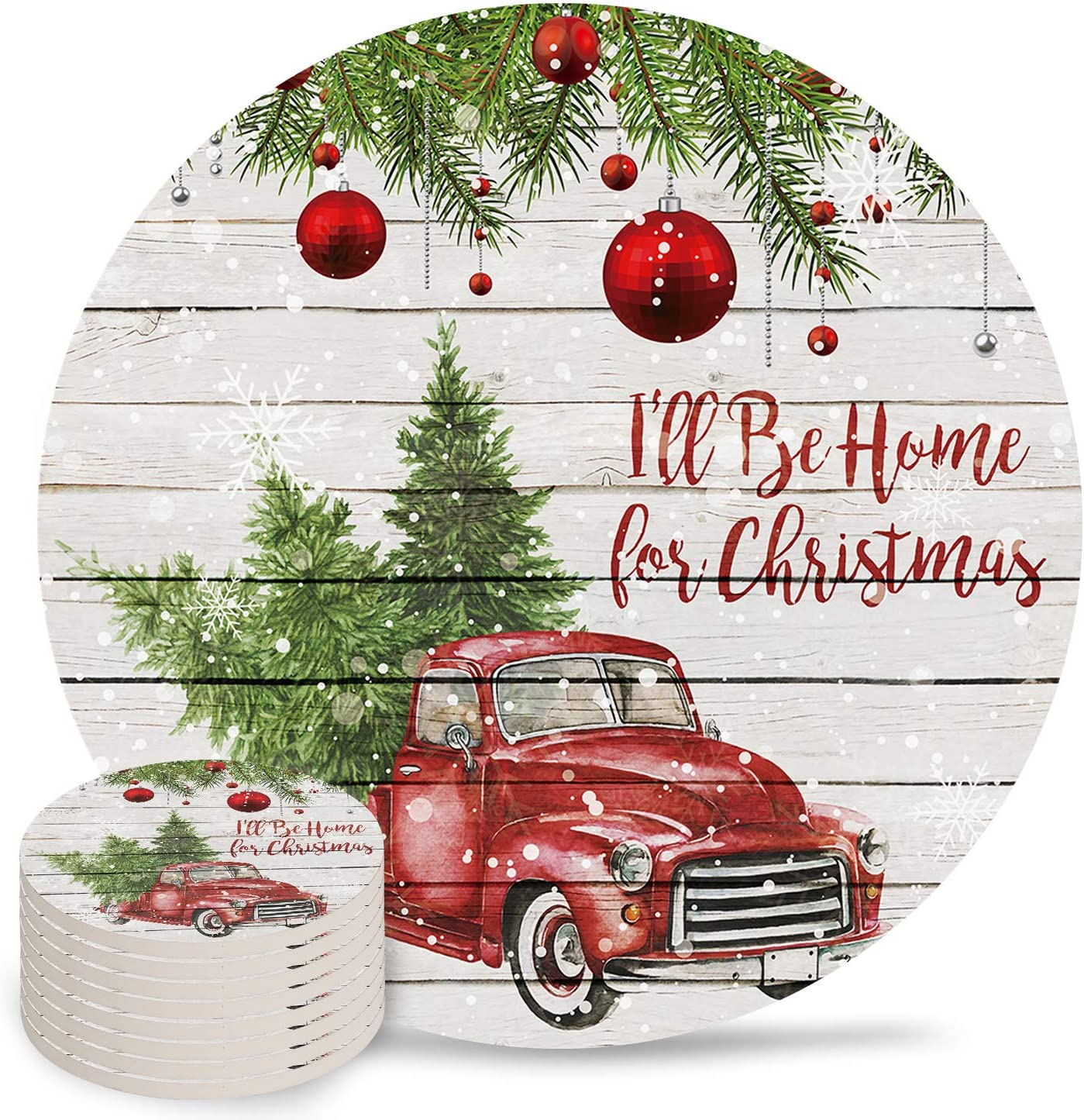 8-Piece Set Coasters 35% OFF for Drinks Red Tree with Retro All items in the store Xmas Truck i
