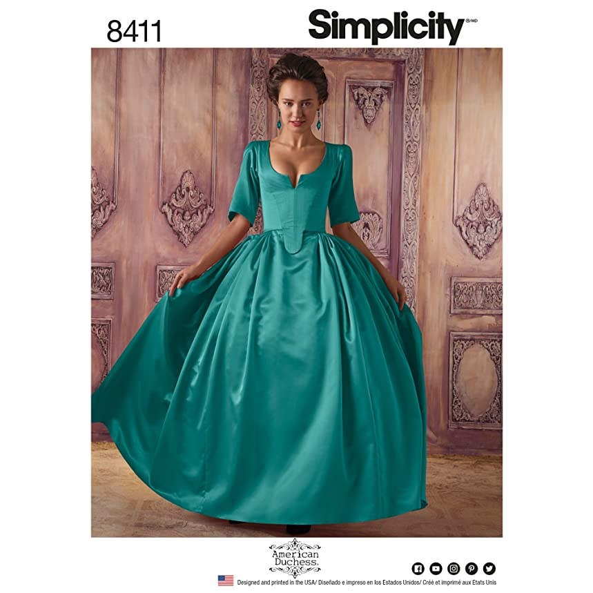 Simplicity Pattern 8411 R5 Misses' 18th Century Costume by American Duchess, Size 14-16-18-20-22