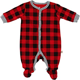 Snugabye Infant Buffalo Plaid Footed Sleeper, 3-6 Months, Red