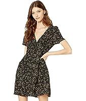 Teen Woven Dotti Deep V Puff Sleeve Mini Dress