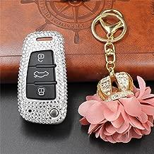 M.JVisun Handmade Car Key Fob Cover for Audi Flip Remote Key, Diamond Car Key Case Cover Fits Audi A1 A3 Q3 Q7 TT S3 R8, Bling Crystals Aluminum Key Fob Cover Protector for Audi Key Fob - Silver
