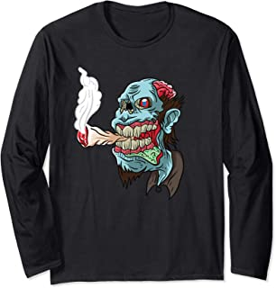 Zombie Smoking Weed THC Happy Halloweed Halloween Stoner Long Sleeve T-Shirt