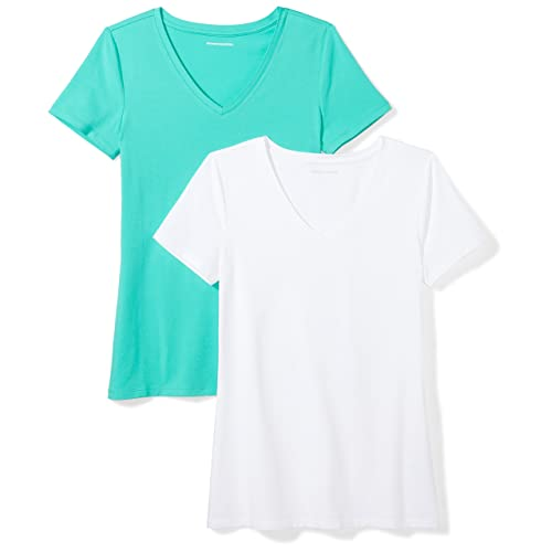 c8a3b213 Amazon Essentials Women's 2-Pack Short-Sleeve V-Neck T-Shirt