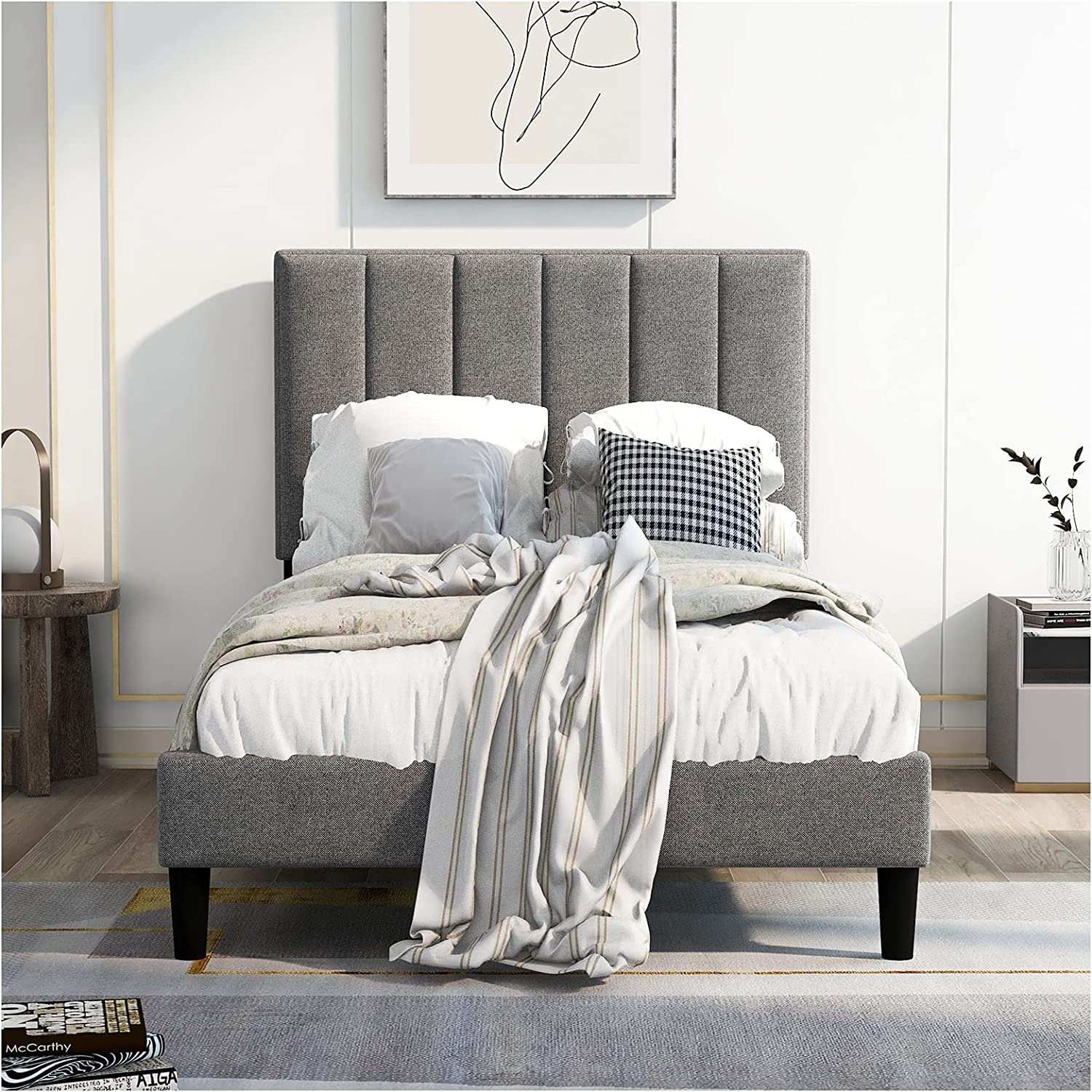 Twin Size Upholstered New sales Platform Bed with Sl Wood Popular overseas Frame Headboard