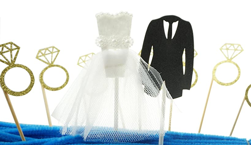 Shxstore Glitter Diamond Ring Wedding Dress and Suit Cake Cupcake Toppers Picks for Decorations, Set of 22