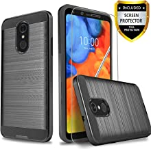 LG Q7 Plus Case, LG Q7 Case With [Tempered Glass Screen Protector] Circlemalls 2-Piece Style Rugged Drop Protective Shockproof Phone Cover And Stylus Pen-Black