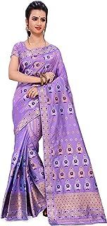 SKiran's Assamese Machine-Weaving Poly Silk Mekhela Chador Saree - Dn6066 Mekhla Sador (Lavender)