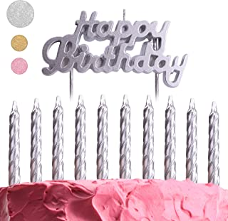 GET FRESH Silver Birthday Cake Candles Set – 10-Pack Spiral Candles and Happy Birthday Candles Cake Topper – Elegant Bday Candles and Letter Candles Cake Decoration – Unique Silver Birthday Candle kit