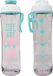 50 Strong BPA Free Reusable Water Bottle with Time Marker - Motivational Fitness Bottles - Hours Marked - Drink More Water Daily - Tracker Helps You Drink Water All Day -Made in USA