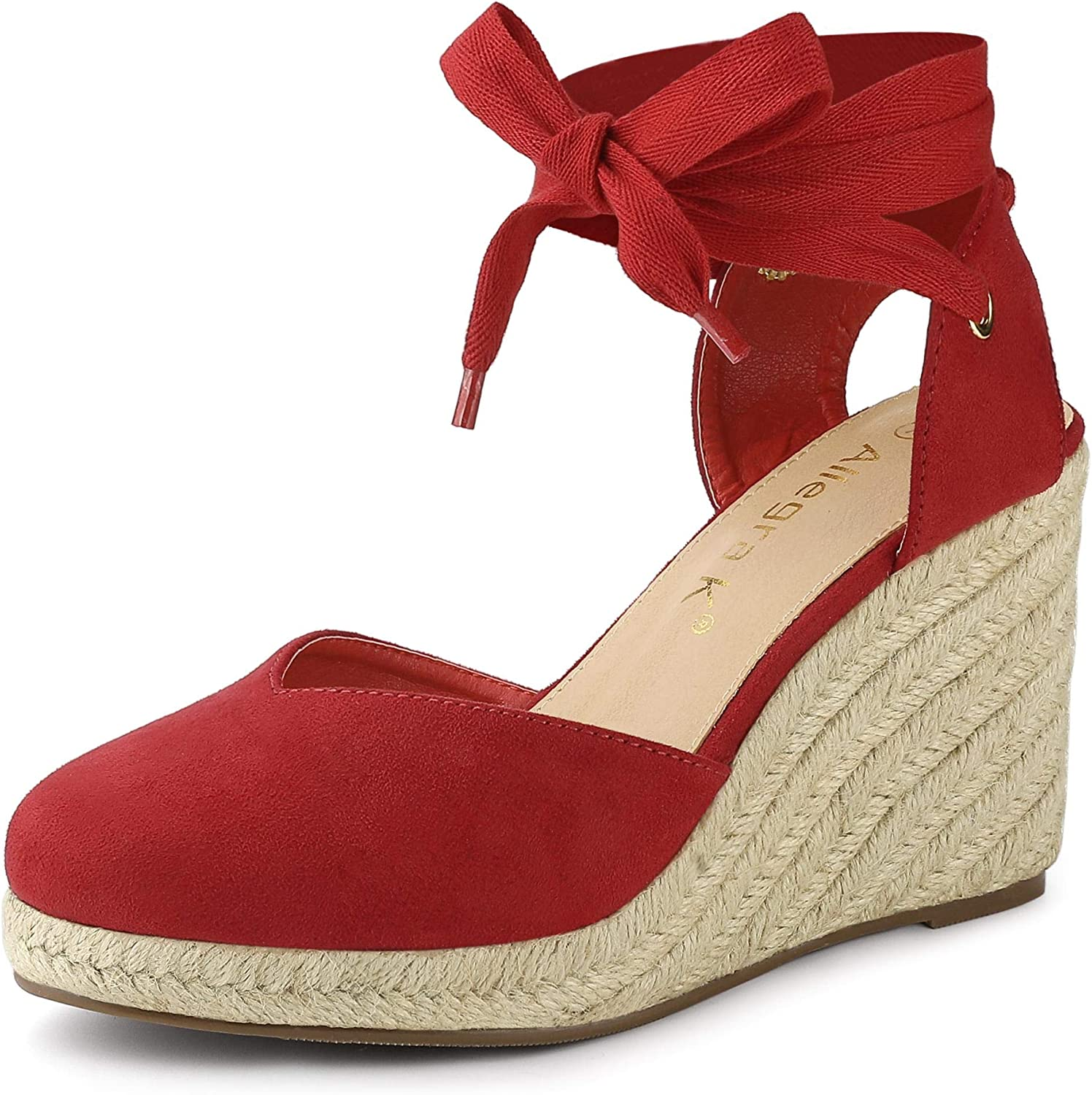 Allegra K Online limited product Women's Purchase Closed Toe Espadrilles Wedge Wedges Up San Tie