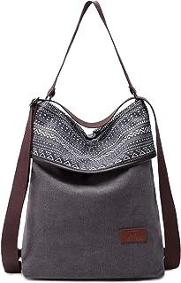 Travistar Damen Handtasche Canvas Rucksack Groß Schultertasche Vintage Damen umhängetasche Anti Diebstahl Tasche Damen Hob...