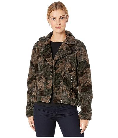 Dylan by True Grit Heather Pile Camo Moto Jacket (Brown/Black) Women