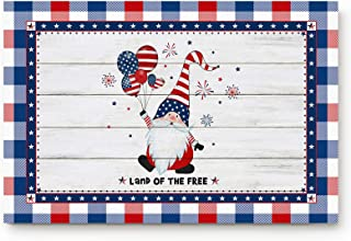 Entrance Front Indoor Doormats Independence Day Gnome Balloon Non-slip Low Profile Rubber Backing Floor Rug for High Traff...
