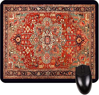 Antique Style Persian Heriz Serapi Rug Print Design -Square Mouse pad - Stylish, Durable Office Accessory and Gift Made in The USA