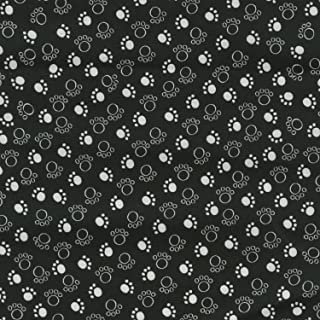 Cat Fabric - Scribble Paws - Black - 100% Cotton - By the Yard